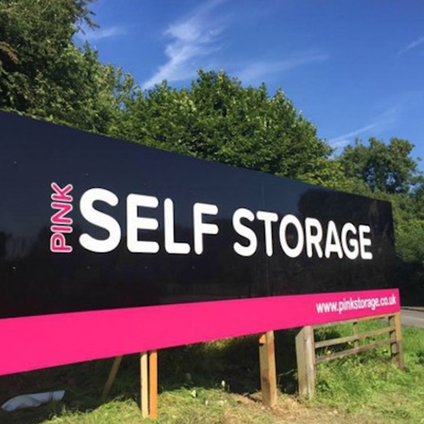 Photo of the site signage for Pink Self Storage